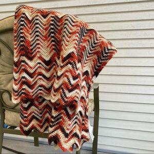 Vintage Hand Knit Chevron Blanket